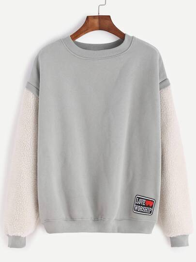Contrast Sleeve Embroidered Patch Sweatshirt