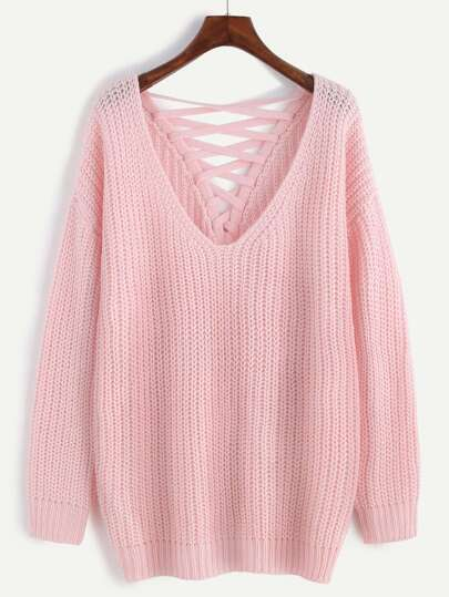 Pink Deep V Neck Lace Up Back Drop Shoulder Sweater