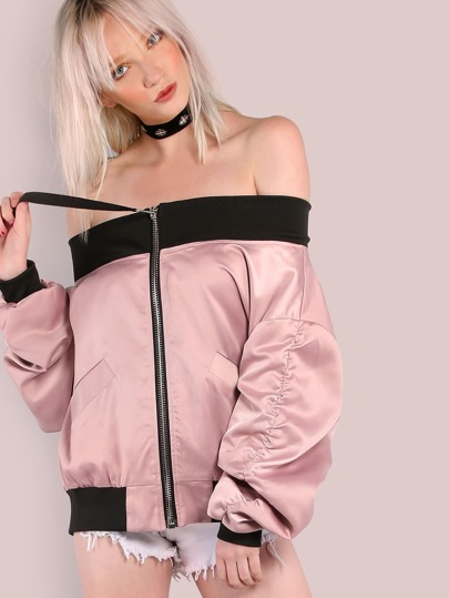 Off the Shoulder Satin Bomber BLUSH