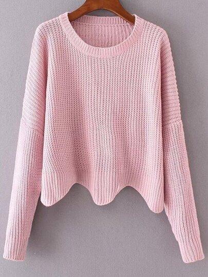 Pink Drop Shoulder Asymmetrical Sweater