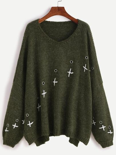 Army Green Drop Shoulder Metal Eyelet Sweater