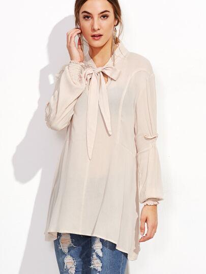 Blusa cuello con cordón de manga fruncida - albaricoque