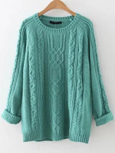 Pull tricoté en câble manche raglan - bleu
