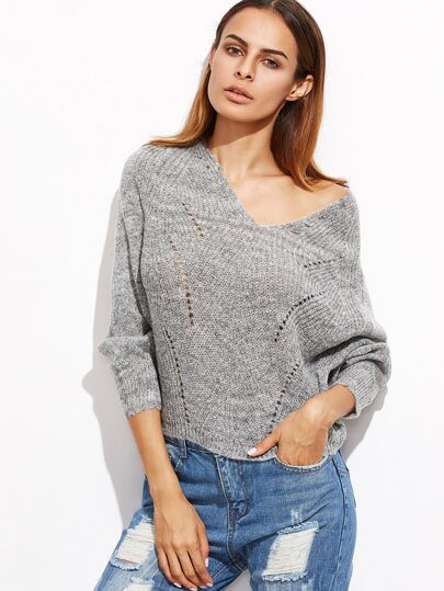 Pullover mit Holen Design V-Ausschnitt Fledemaus Ärmel-grau