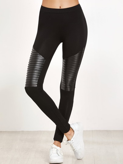 Black Mixed Media Textured Leggings