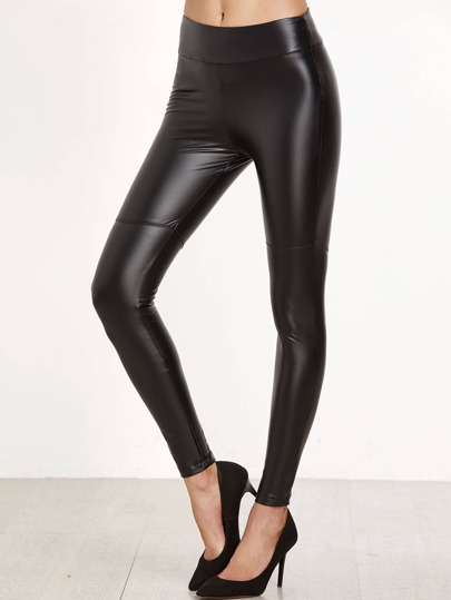 Black Cut And Sew Coated Leggings