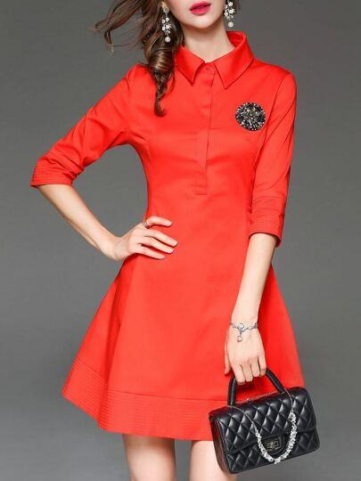Vestito Risvolto Con Perline A-Linea - Rosso