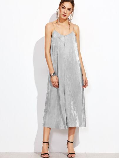 Metallic Pleated Slip Dress