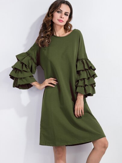 Army Green Ruffle Sleeve Tee Dress