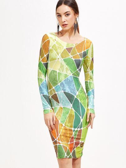 Patchwork Long Sleeve Pencil Dress