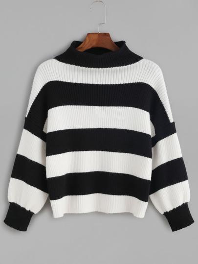 Kurze Strickpullover mit Zerrissen Design Streifen-schwarz und weiß
