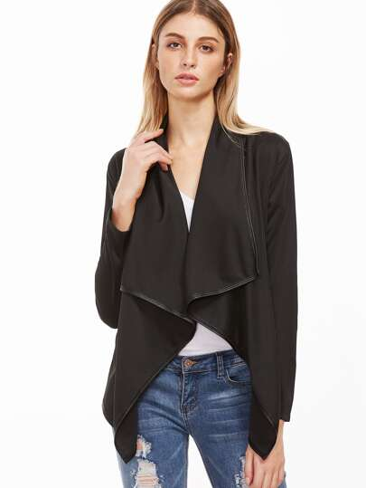 Black Shawl Collar Asymmetric Coat