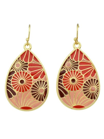 Pendientes estilo bohémico con flor de esmalte - rojo