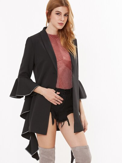 Black Contrast Piping Dramatic Bell Sleeve Blazer