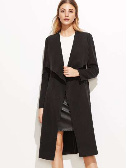 Black Drape Collar Wrap Coat