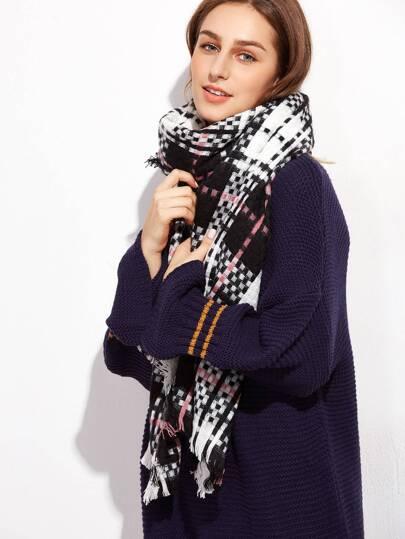 Schal mit Wimper Quaste -schwarz und weiß