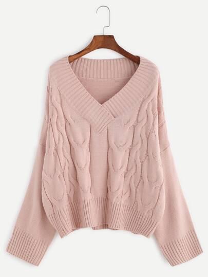 Pink V Neck Drop Shoulder Cable Knit Sweater