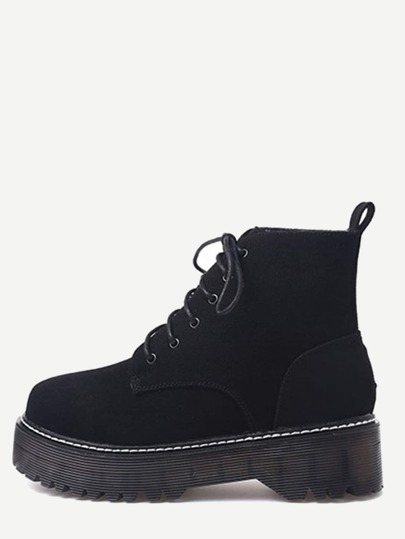 Black Lace Up Suede Flatform Booties