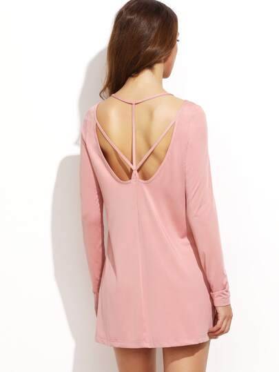 Pink Cutout Strappy Back Tee Dress