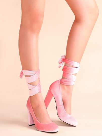 Almond Toe Lace Up Pumps PINK