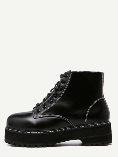 Black PU Round Toe Lace Up Flatform Short Boots