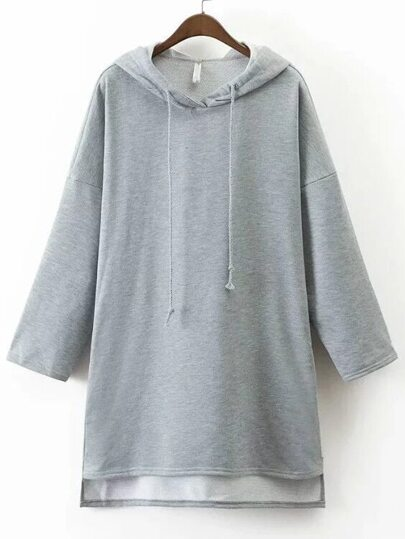 Grey Hooded Oversized High Low Sweatshirt