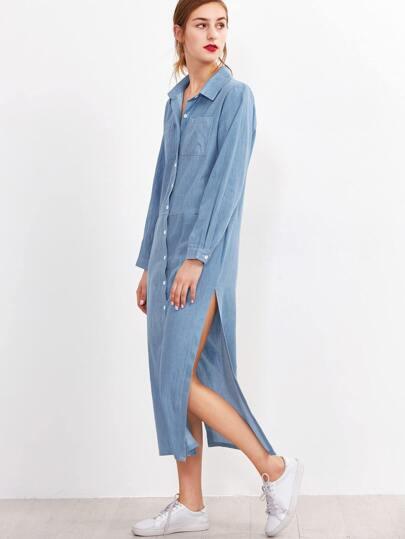 Blue Slit Side Shirt Dress