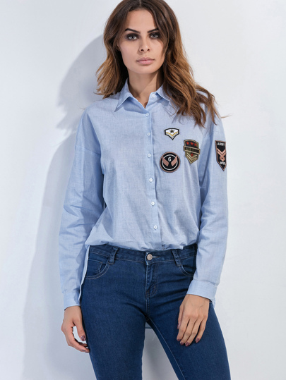 Blue Slit Side High Low Patches Shirt