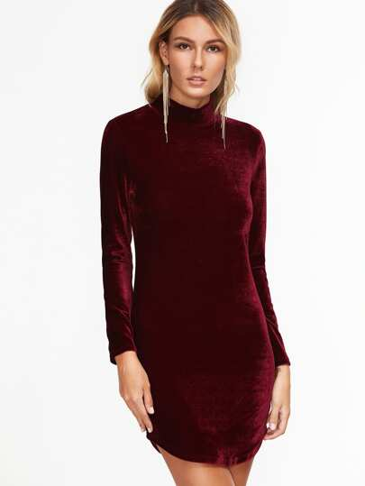 Curved Hem Velvet Fitted Dress