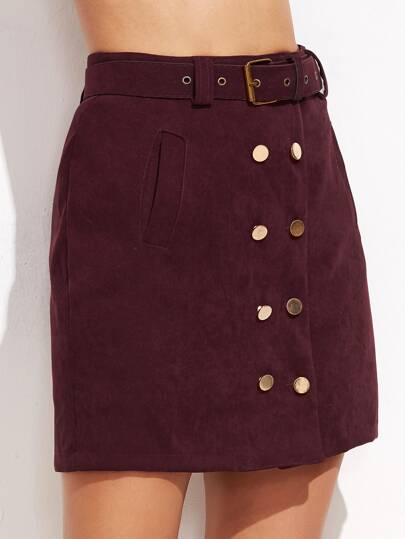 Burgundy Double Breasted Skirt With Belt
