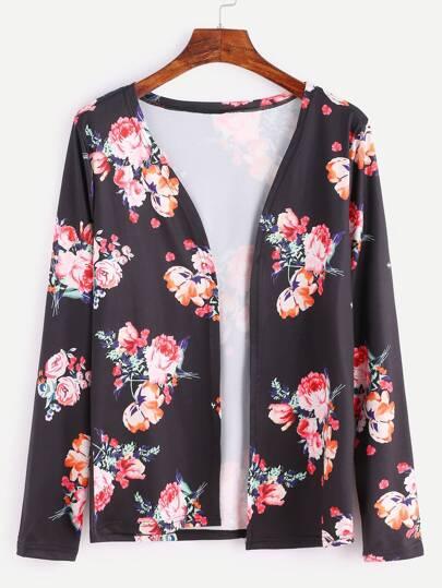 Black Floral Print Coat
