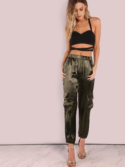 Satin Cargo Joggers OLIVE
