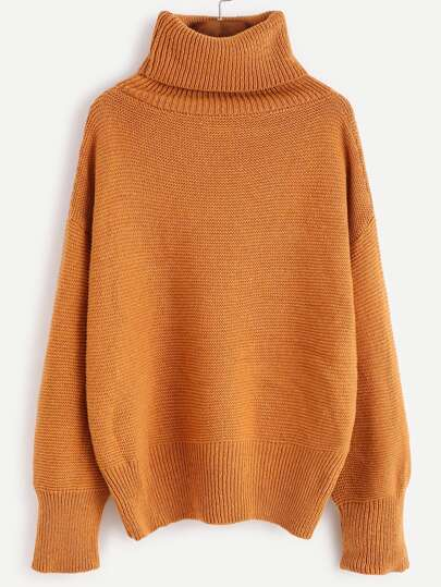 Khaki Turtleneck Drop Shoulder Sweater