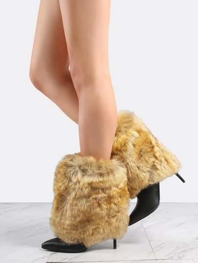 Faux Fur Stiletto Ankle Boots CAMEL