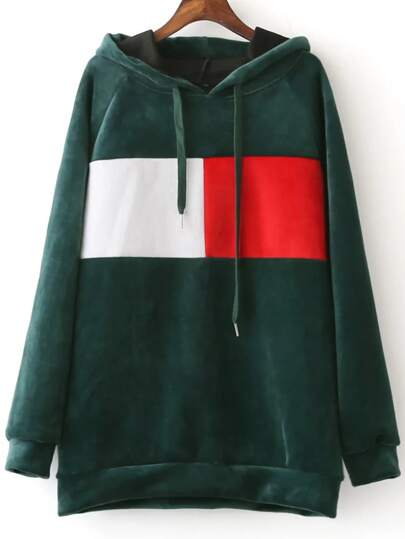 Green Color Block Raglan Sleeve Hooded Sweatshirt
