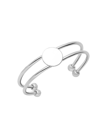 Silver Plated Coin Double Layer Wrap Open Bangle