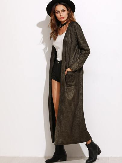 Khaki Sparkle Duster Coat With Pocket