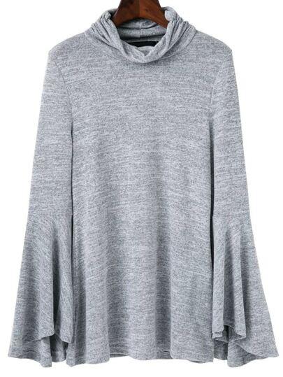 Grey Cowl Neck Bell Sleeve Knitwear