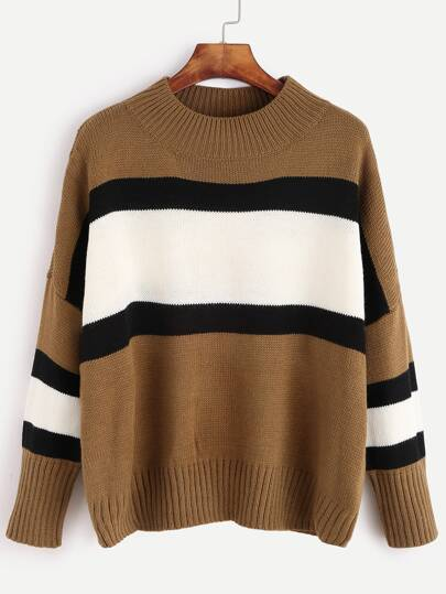 Khaki Color Block Drop Shoulder Sweater