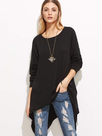 Black Drop Shoulder Button Back Asymmetric Sweatshirt