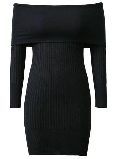 Robe moulante tricoté à nervures épaules nues - noir