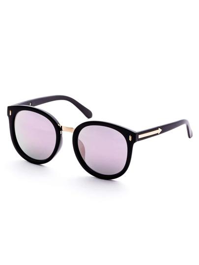 Black Frame Purple Lens Metal Trim Sunglasses