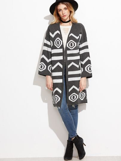 Dark Grey Geometric Print Sweater Coat