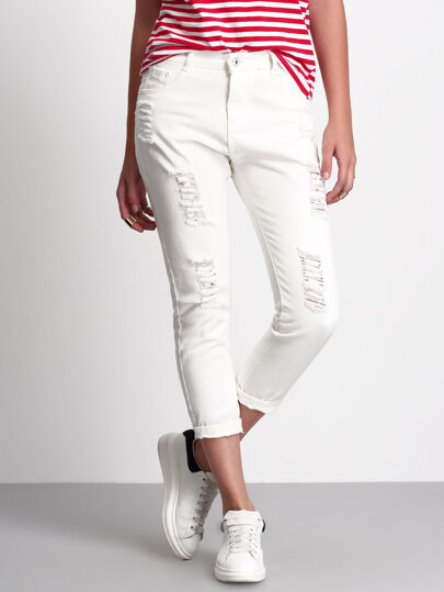 Pantalón rotos denim -blanco
