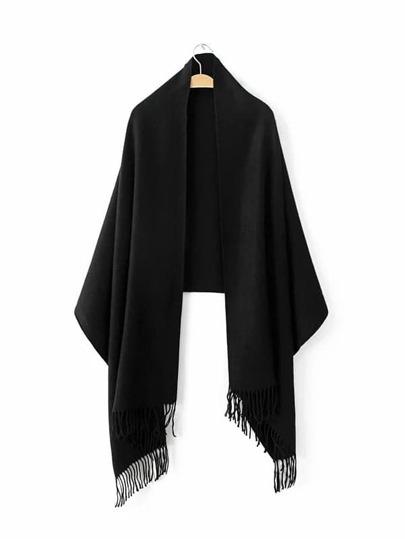 Black Long Fringe Elegant Shawl Scarf