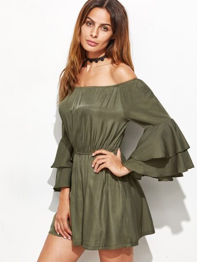 Army Green Off The Shoulder Tiered Bell Sleeve Dress