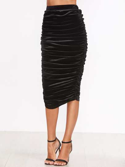 Black Ruched Long Skirt