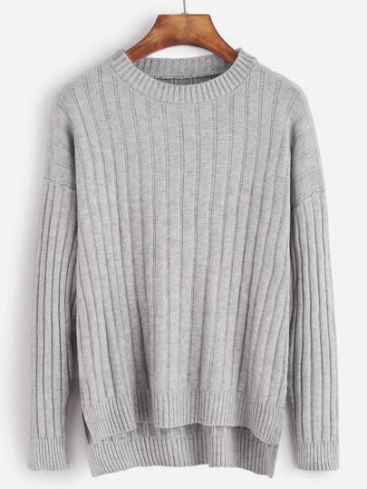 Grey Drop Shoulder Slit Side High Low Sweater