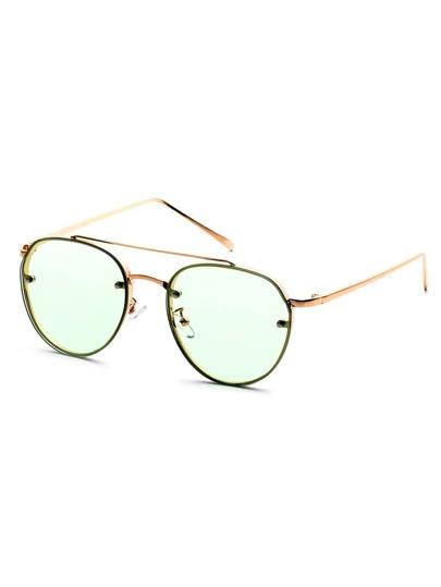 Gold Frame Double Bridge Green Lens Sunglasses