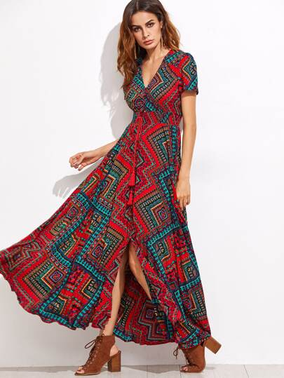 Tribal Print Fringe Detail Split Front Dress
